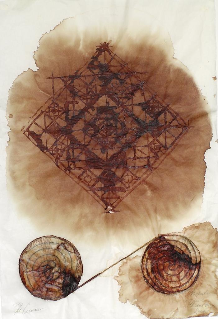 """Blut- wie Landebahnen"" 2004, Placentablut, Haut, Kohle, auf Chinapapier, 70 x 100 cm"