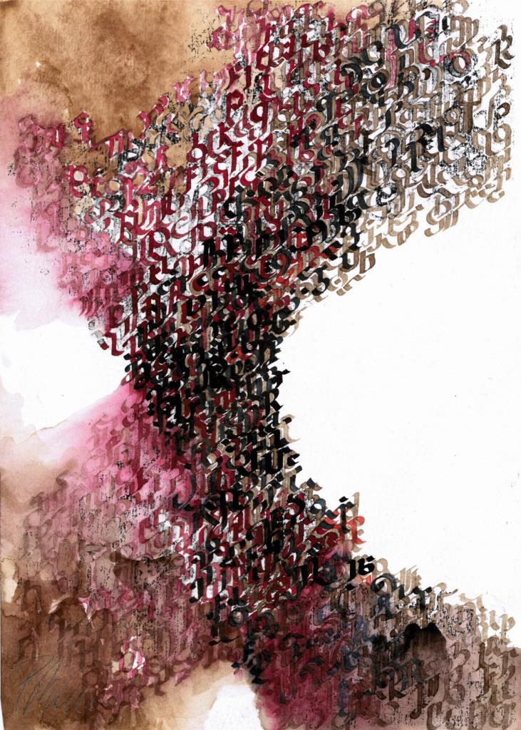 """""""noch noch klügere Gedanken"""" 2017, Tinten, Tusche, Kaffee, Kopie, auf Papier, 29,5 x 21 cm"""